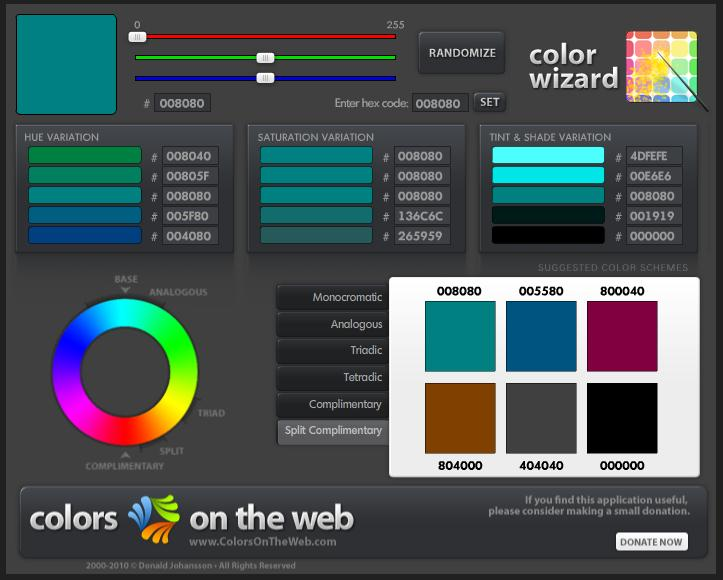 Color Wizard from Colors on the Web
