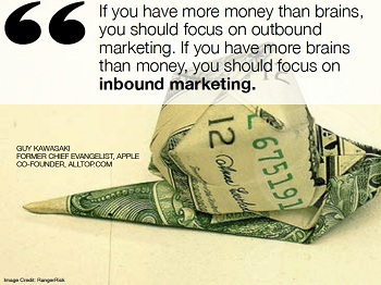 If you have more money than brains you should focus on outbound marketing if you have more brains then money you should focus on invound marketing