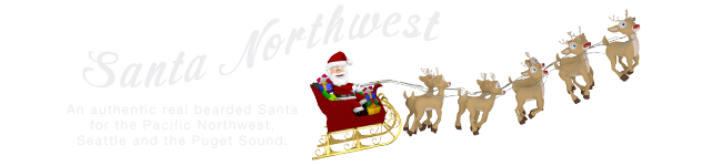 An authentic real bearded Santa for the Pacific Northwest, Seattle and the Puget Sound.