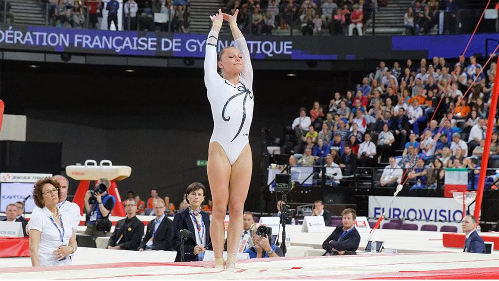 Maria Paseka Sticks the Landing at the 2015 European Artistic Gymnastics Championships